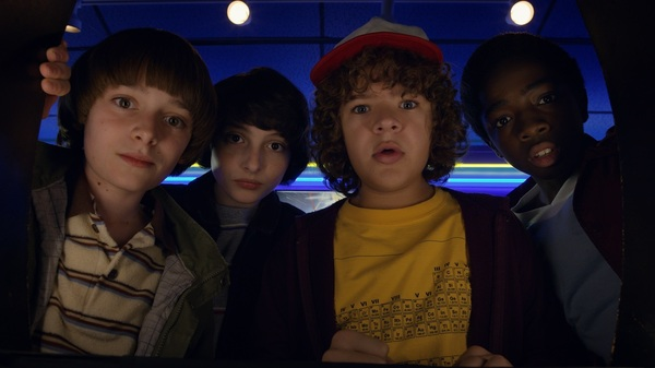 Noah Schnapp, Finn Wolfhard, Gaten Matarazzo, and Caleb Mclaughlin in Stranger Things 2.