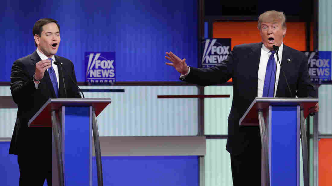 DETROIT, MI - MARCH 03: Republican presidential candidates (Lto R) Sen. Marco Rubio (R-FL) and Donald Trump participate in a debate sponsored by Fox News at the Fox Theatre on March 3, 2016 in Detroit, Michigan. Voters in Michigan will go to the polls March 8 for the State's primary. (Photo by Chip Somodevilla/Getty Images)