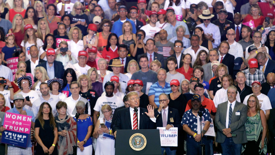 President Trump speaks to a crowd of supporters at the Phoenix Convention Center during a rally Aug. 22. (Ralph Freso/Getty Images)