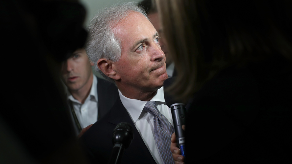 Sen. Bob Corker, R-Tenn., speaks to reporters on Capitol Hill about President Trump on Tuesday morning, ahead of Trump's visit with GOP senators. (Win McNamee/Getty Images)