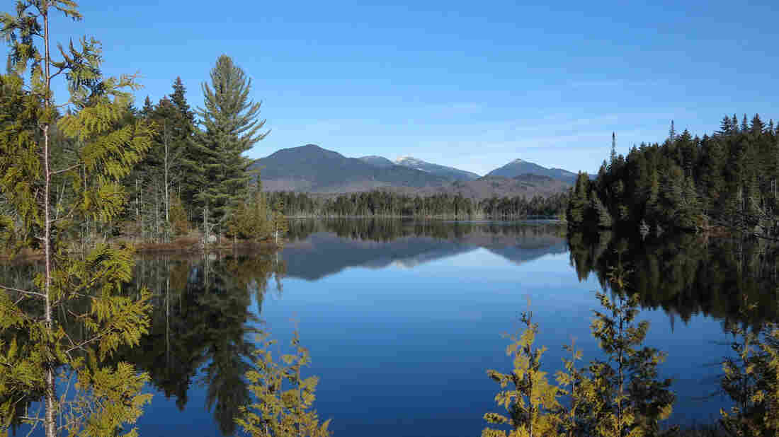 The Adirondack High Peaks, including snow-capped Mount Marcy are reflected in Boreas Pond in North Hudson, N.Y.