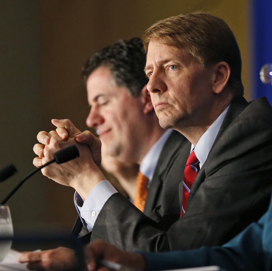 "Consumer Financial Protection Bureau Director Richard Cordray, shown last October at a panel discussion in Richmond, Va., called Tuesday's vote ""a giant setback for every consumer in this country. Wall Street won and ordinary people lost."" (Steve Helber/AP)"
