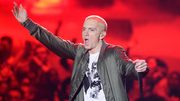 Eminem onstage at the 2014 MTV Movie Awards. A version of the rapper