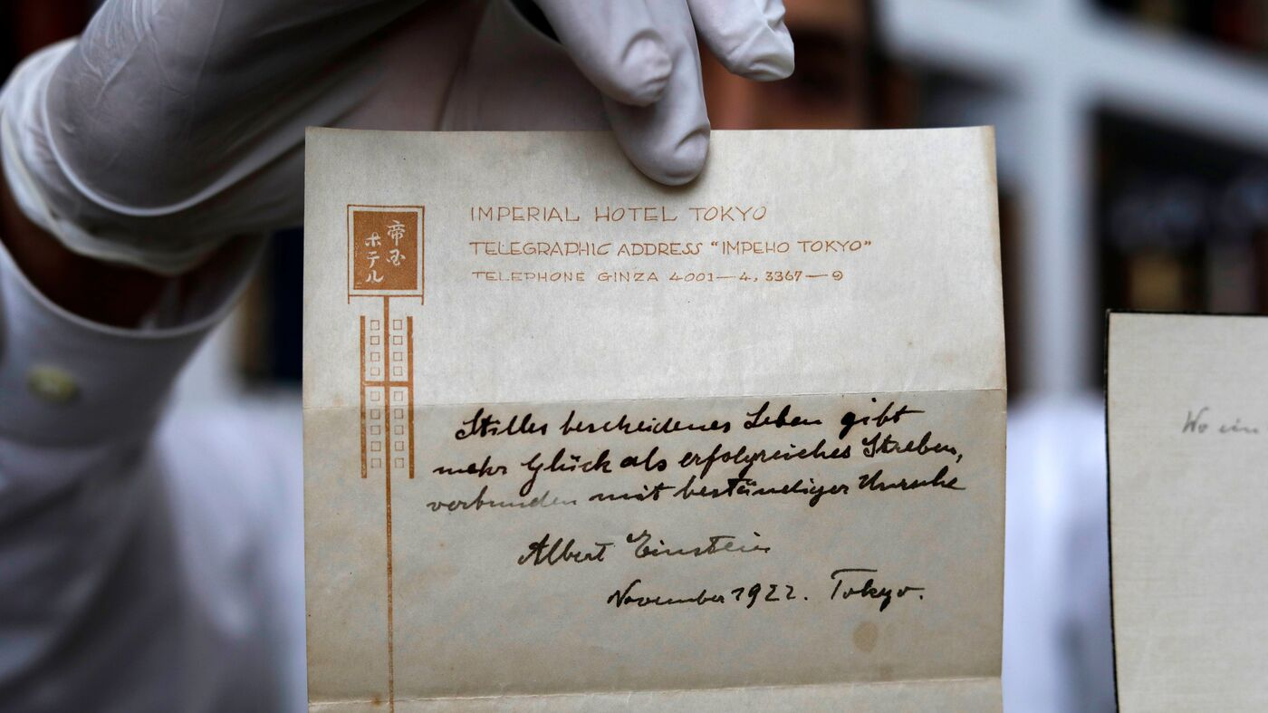 Einsteins Note On Happiness Given To Bellboy In 1922 Fetches 16