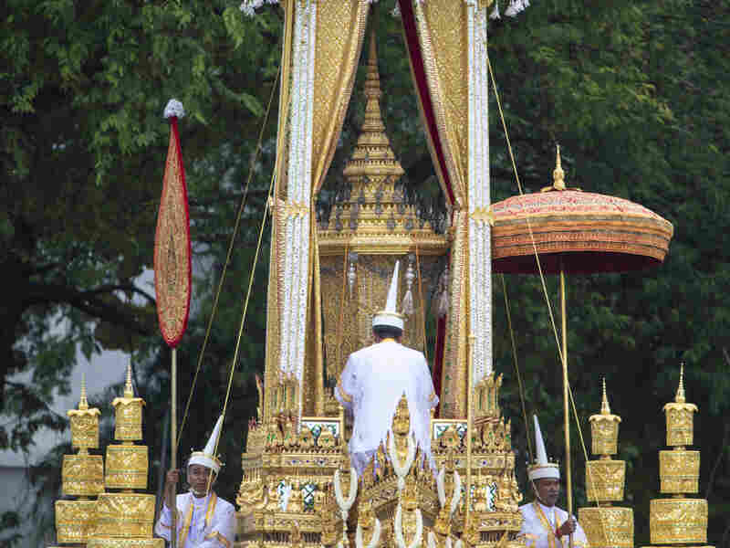 The ceremonial urn of Thailand's late King Bhumibol Adulyadej is transported during the funeral procession and royal cremation ceremony in Bangkok.
