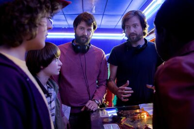 The Duffer brothers direct the young actors of Stranger Things. (Jackson Lee Davis/Netflix)