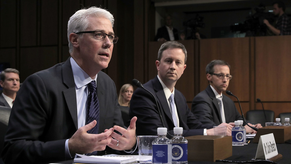 Left to right: Facebook General Counsel Colin Stretch, Twitter Acting General Counsel Sean Edgett, and Google Law Enforcement and Information Security Director Richard Salgado testify before the Senate Judiciary Committee's Crime and Terrorism Subcommittee on Tuesday, October 31, 2017. (Chip Somodevilla/Getty Images)