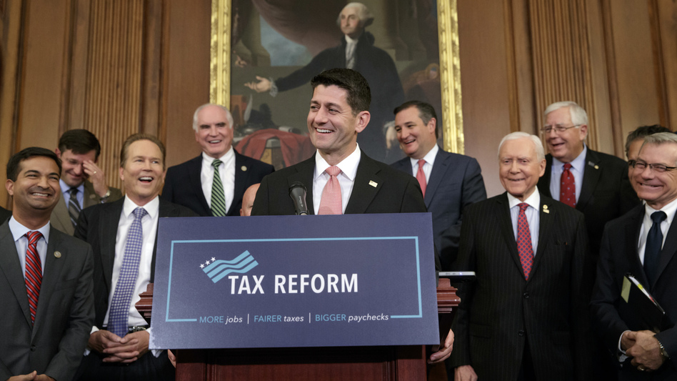 House Speaker Paul Ryan, R-Wis., talks about Republicans' proposed rewrite of the tax code at the Capitol on Sept. 27. The text of a tax bill is to be released Thursday. (J. Scott Applewhite/AP)