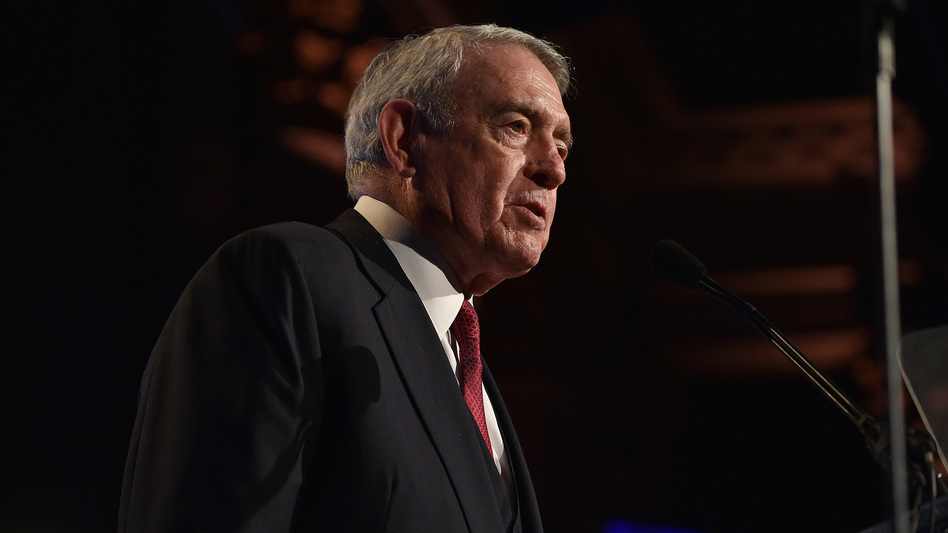 Dan Rather speaks at the Gotham Independent Film Awards in 2015. His new collection of essays is called <em>What Unites Us.</em> (Larry Busacca/Getty Images for IFP)