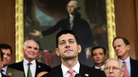 Speaker of the House Paul Ryan, center, and other lawmakers have a plan to overhaul the tax code that includes a provision that would repeal a tax credit for makers of drugs for rare diseases.