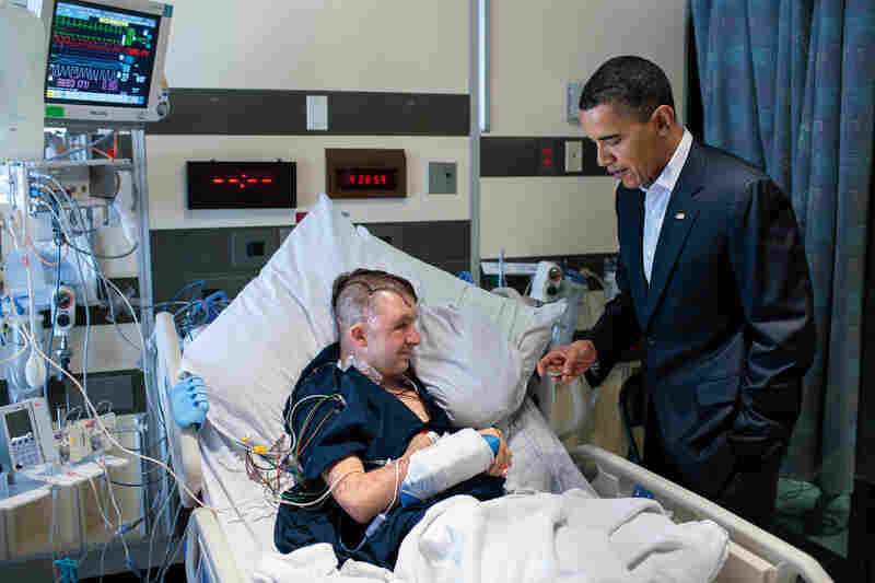Obama meets Cory Remsburg at Walter Reed National Military Medical Center on Feb. 28, 2010. Remsburg suffered a severe brain injury caused by a roadside explosion in Afghanistan.