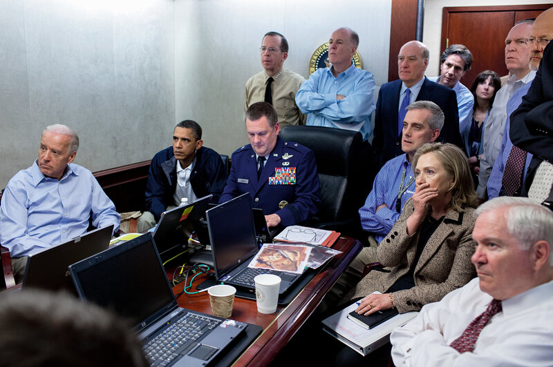 Obama and his national security team monitor the raid that resulted in the death of Osama bin Laden on May 1, 2011. (Pete Souza/Courtesy of Little, Brown and Company, New York)
