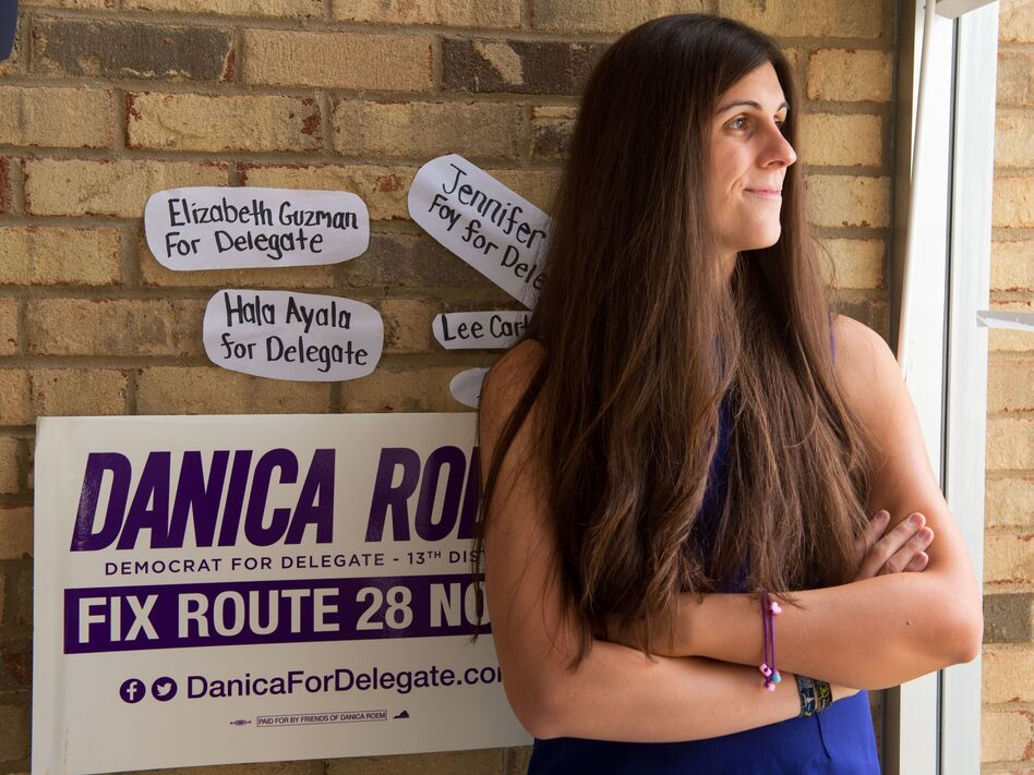 Danica Roem, a Democrat who won a race for delegate in Virginia's 13th Congressional District, at her campaign office in September. Roem is the first transgender person elected to a state legislature. (Paul J. Richards/AFP/Getty Images)
