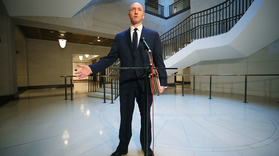 Carter Page, former foreign policy adviser for the Trump campaign, speaks to the media after testifying before the House Intelligence Committee last week in Washington, D.C. (Mark Wilson/Getty Images)