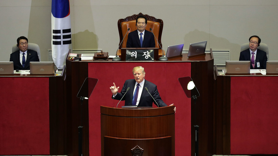 President Trump speaks Wednesday morning at the National Assembly in Seoul, South Korea. He praised the country for its postwar growth and promised to protect it against North Korea. (Chung Sung-Jun/Getty Images)