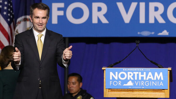 Virginia Gov.-elect Ralph Northam greets supporters at an election night rally in Fairfax, Va., on Tuesday.