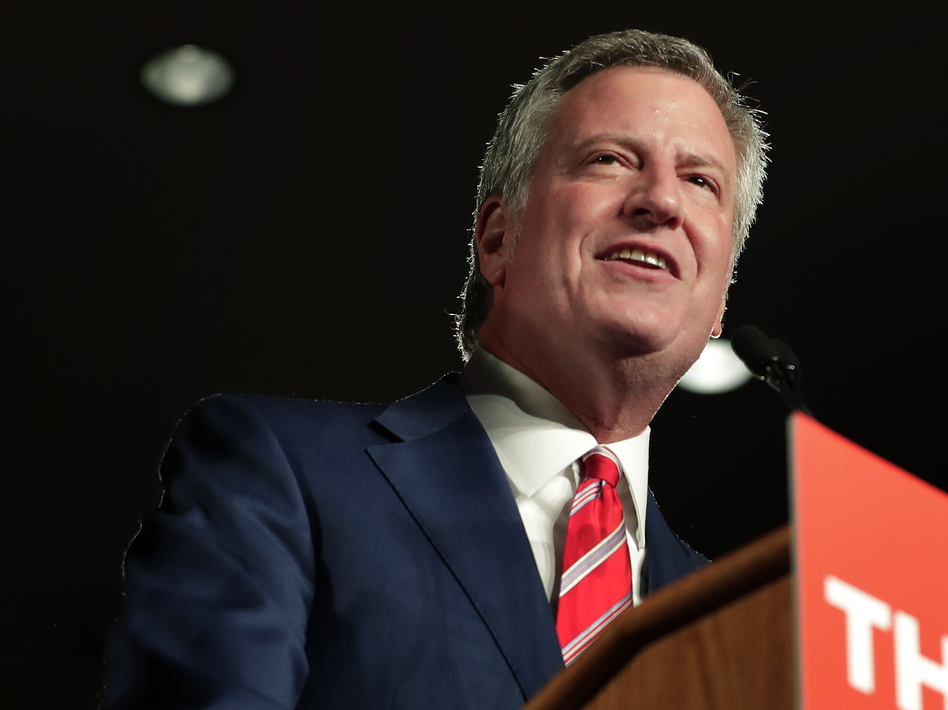 New York City Mayor Bill de Blasio speaks during his election night victory gathering on Tuesday. (Julie Jacobson/AP)