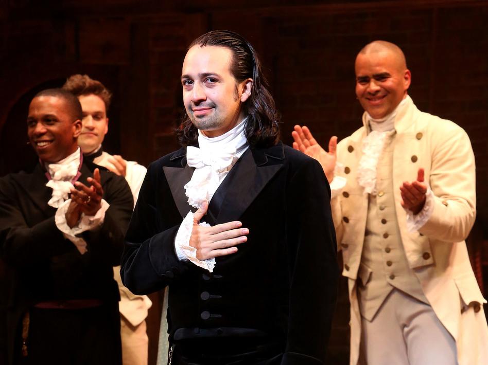 Lin-Manuel Miranda (center) performs in <em>Hamilton</em> in July 2016 in New York City. (Bruce Glikas/Bruce Glikas/FilmMagic)
