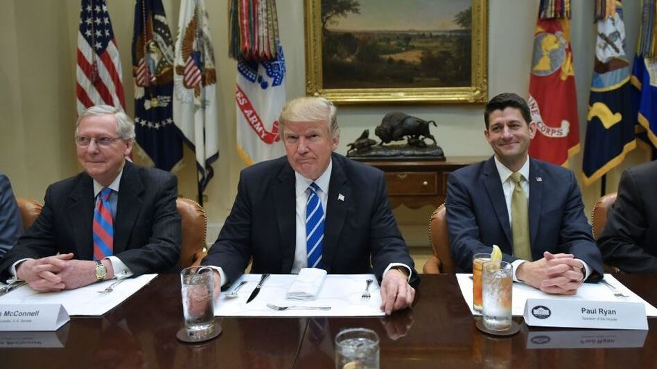 President Trump meets with Senate Majority Leader Mitch McConnell and House Speaker Paul Ryan earlier this year. (Mandel Ngan/AFP/Getty Images)