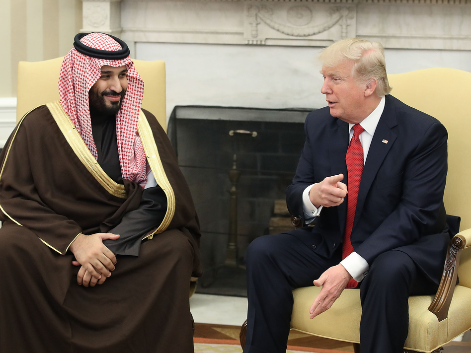 Mohammed bin Salman, now Saudi Arabia's crown prince, meets with President Trump in the Oval Office on March 14. Crown Prince Mohammed is seen as the driving force behind the kingdom's aggressive campaign to counter Iran throughout the Middle East. (Bloomberg/Bloomberg via Getty Images)