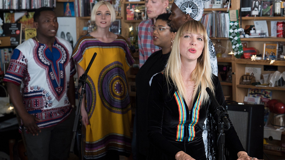 Mynabirds performs a Tiny Desk Concert on Sept. 19, 2017. (Jennifer Kerrigan/NPR)