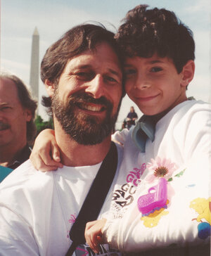 Alan Stepakoff and his son, Josh, in Washington, D.C., for the Million Mom March rally in May 2000, the year after Josh was shot at his Jewish day camp. The shooting was ruled a federal hate crime, and the gunman is serving life in prison. (Courtesy of Joshua Stepakoff)