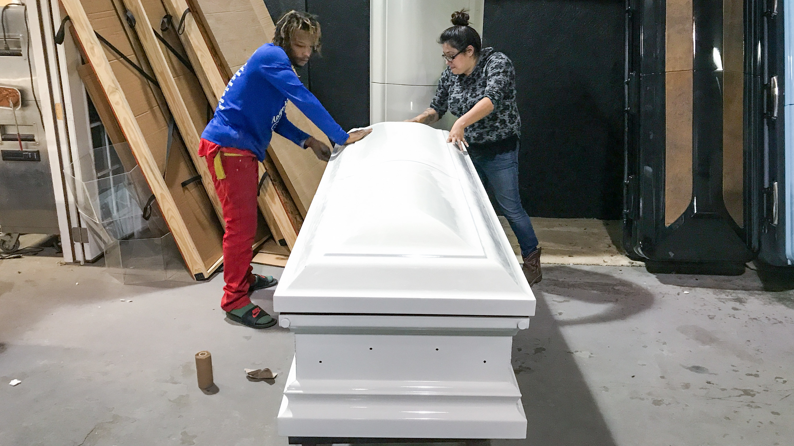 Image for With Shiny Pink And Camo, Casket Designer Honors Texas Shooting Victims Article