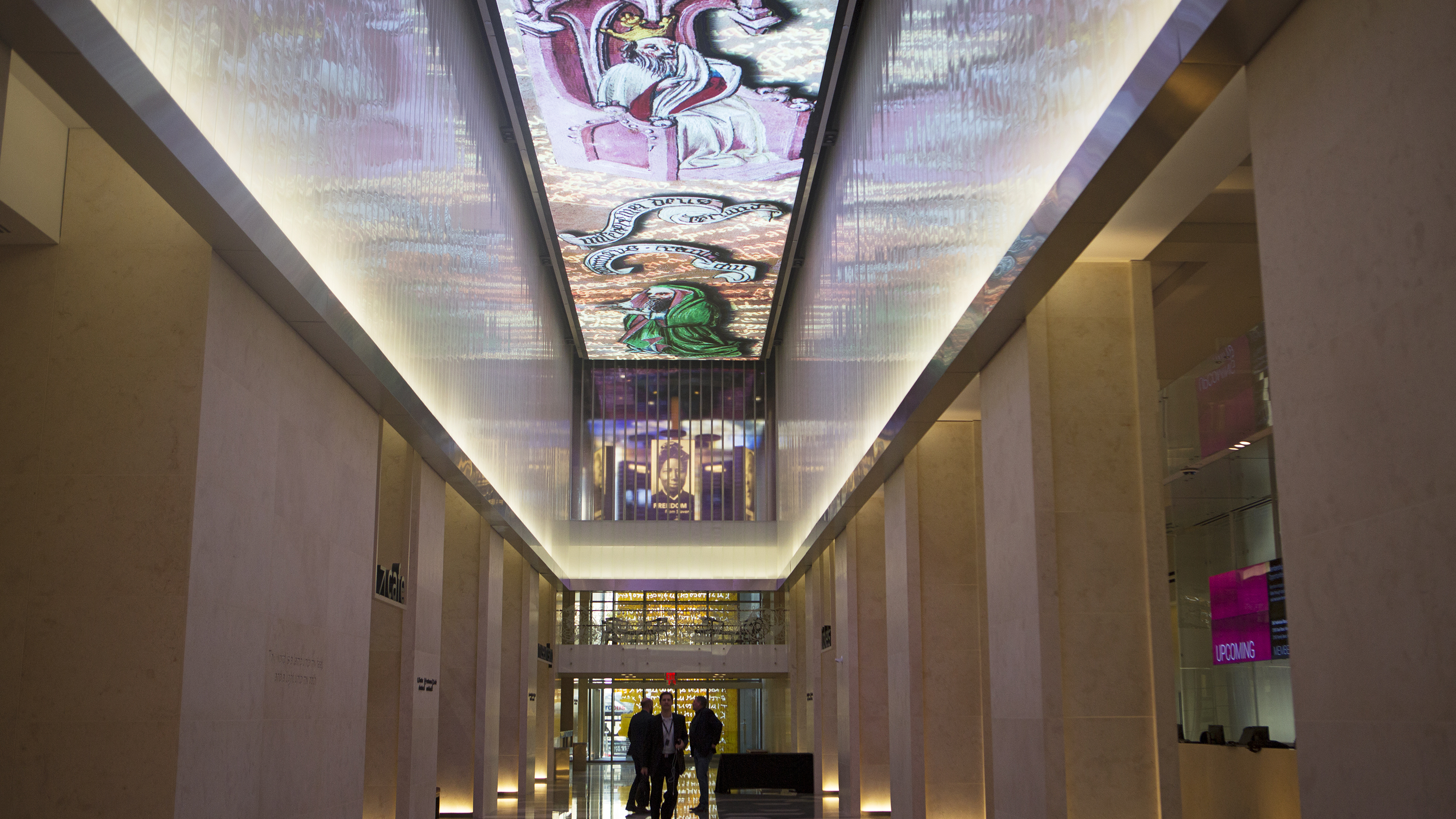 The lobby features a 140-foot digital mosaic that rotates through different images.