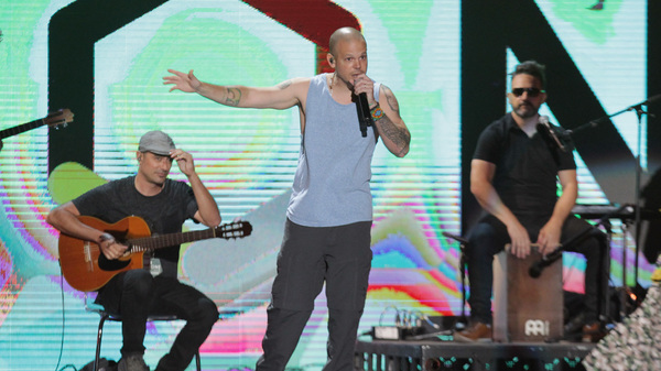 "Rene ""Residente"" Perez performs onstage at Univision and Fusion host RiseUp AS ONE on October 15, 2016. The artist is nominated nine times at the 2017 Latin Grammys."