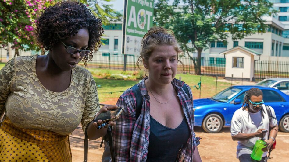 Martha O'Donovan, who was arrested over alleged subversive tweets about Zimbabwean President Robert Mugabe on Twitter, arrives at Harare Magistrate's Court in Harare, Zimbabwe, on Nov. 4.