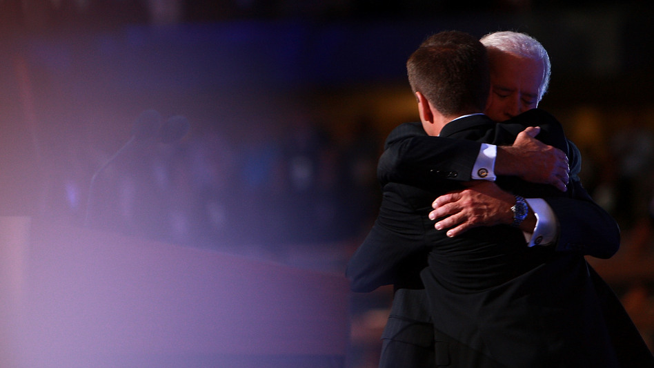Joe Biden and his son, the late Beau Biden, embrace at the 2008 Democratic National Convention in Denver. Beau Biden delivered the keynote address that year. He died seven years later from brain cancer. (Spencer Platt/Getty Images)