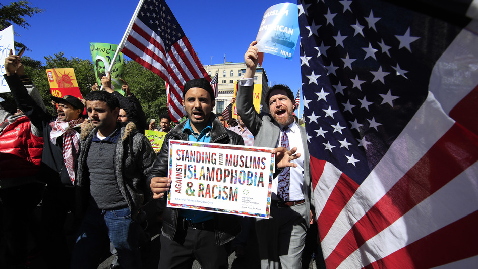 "Muslim and civil rights groups and their supporters gather at a rally against what they call a ""Muslim ban"" in Washington in October."