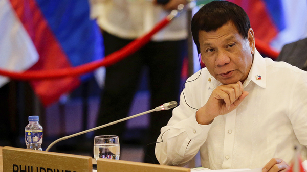 Philippine President Rodrigo Duterte looks on during the 20th ASEAN China Summit in Manila, Philippines, on Monday, Nov. 13, 2017.
