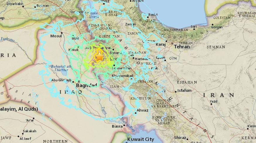 The earthquake struck in Iran near the border with Iraq. In that area, the U.S. Geological Survey says, 'the Arabia plate is moving towards the north with respect to Eurasia at a rate of about 26 mm/yr.' (U.S. Geological Survey)