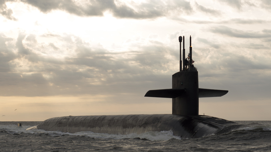 The ballistic missile submarine USS Rhode Island returns to port after a patrol. The president of the United States has the unilateral authority to order it to launch its nuclear weapons. (MC1 James Kimber/U.S. Navy)