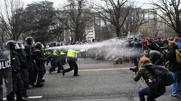 Police and protesters face off on Jan. 20 in Washington, D.C., during President Trump