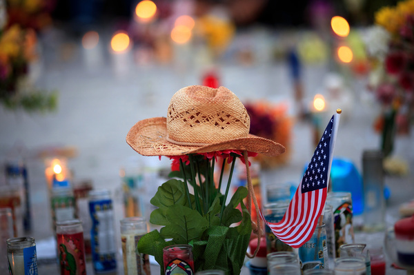 More than 30,000 people a year are killed by gun violence, including 50 killed near the Los Vegas strip last month where this makeshift memorial stands.