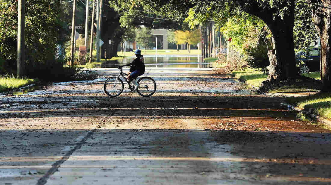 A man rides a bike through the recently dry-out streets of Texas.