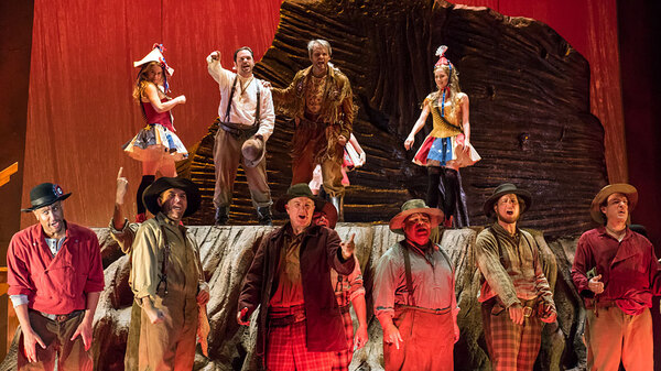 Miners on stage for a rehearsal of Girls of the Golden West, the new opera by John Adams and Peter Sellars, which premiered at the San Francisco Opera Nov. 21.