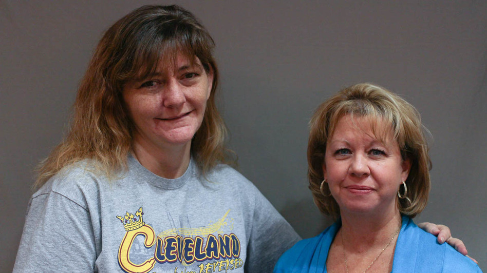 Marlene Shay's (right) son Adam overdosed on heroin when he was 21 years old. His kidney and pancreas went to Karen Goodwin, a recovering addict herself. (Jud Esty-Kendall/StoryCorps)