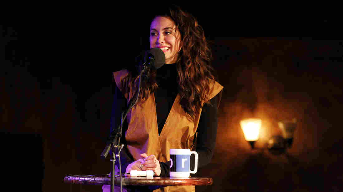 Actor Mozhan Marnò on Ask Me Another at The Bell House in Brooklyn, New York.