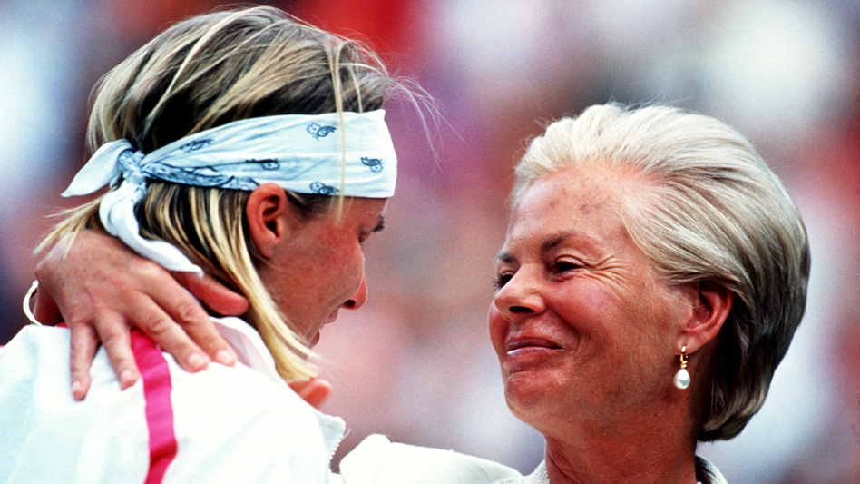After her loss in the 1993 Wimbledon final, Jana Novotná is consoled by Katharine, Duchess of Kent, in one of the enduring images to emerge from the tournament.