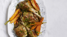 "Looking to booze up your bird? Try braising the dark meat in white wine and turkey stock. Find <a href=""https://www.bonappetit.com/recipe/braised-turkey-legs"">the recipe here</a>."