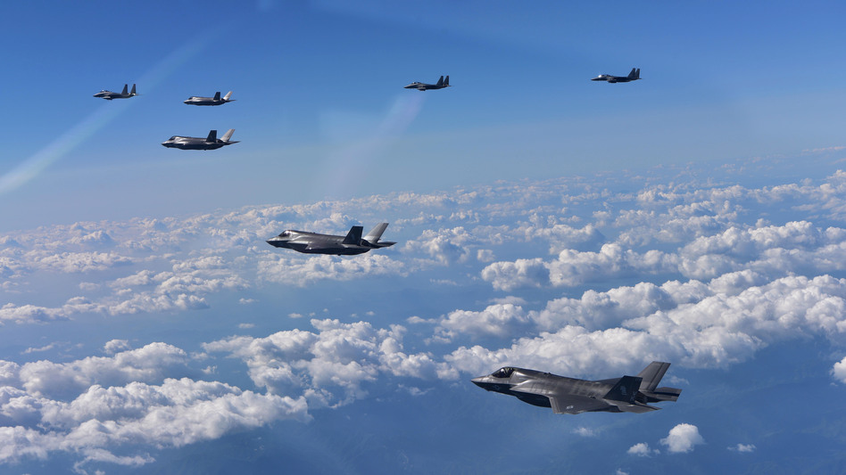 South Korean and U.S. marine fighter jets fly over the Korean Peninsula during a training on Aug. 31, 2017 in Gangwon-do, South Korea.