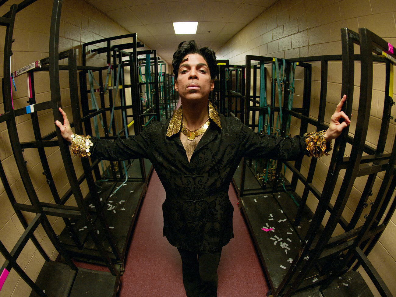 Backstage in Philadelphia, 2004. This shot was used to create the mural and cover for the album Lotusflow3r. (Afshin Shahidi/Prince: A Private View)