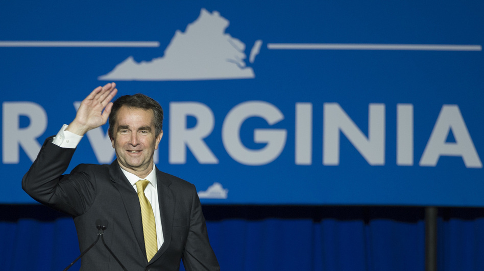 Democrat Ralph Northam celebrates his election as governor of Virginia on Nov. 7. Members of both parties are wondering what that race and other recent success for Democrats will mean for the 2018 midterms.