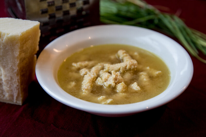 The finished product: passatelli in brodo, a traditional Italian dish perfect for a chilly day. (Beck Harlan/NPR)