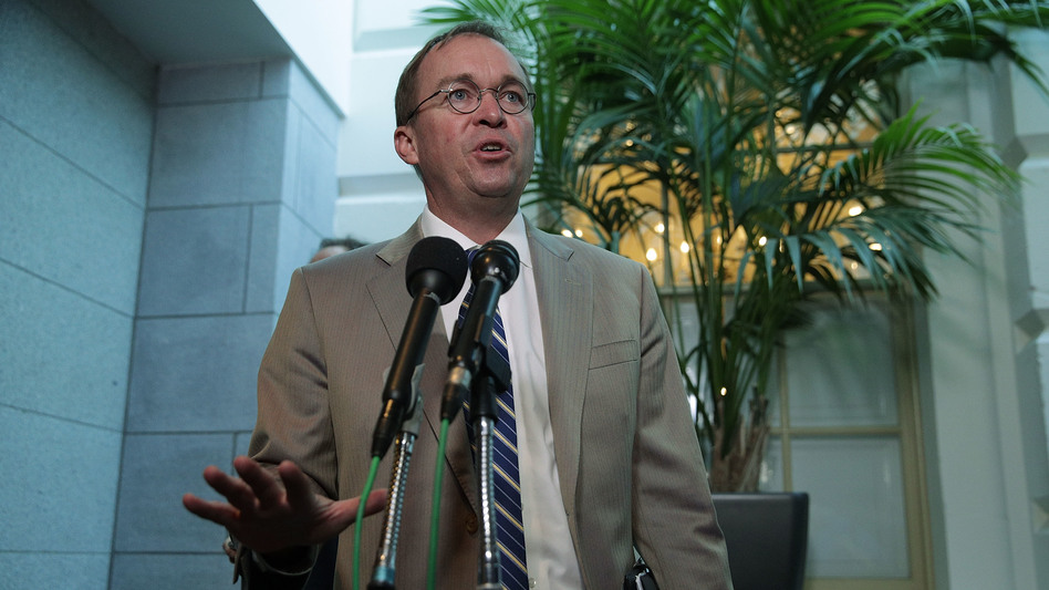 White House Budget Director Mick Mulvaney speaks to media members after a House Republican Conference meeting in September. President Trump selected Mulvaney to lead the Consumer Financial Protection Bureau, a move Democrats say violates the law. (Alex Wong/Getty Images)