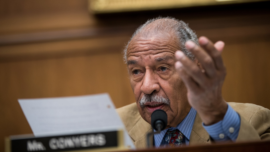 Rep. John Conyers, D-Mich., speaks during a House Judiciary Committee hearing last month. On Sunday, Conyers announced he would be stepping down from his ranking position on the committee — though he continued to deny sexual misconduct allegations against him. (Drew Angerer/Getty Images)