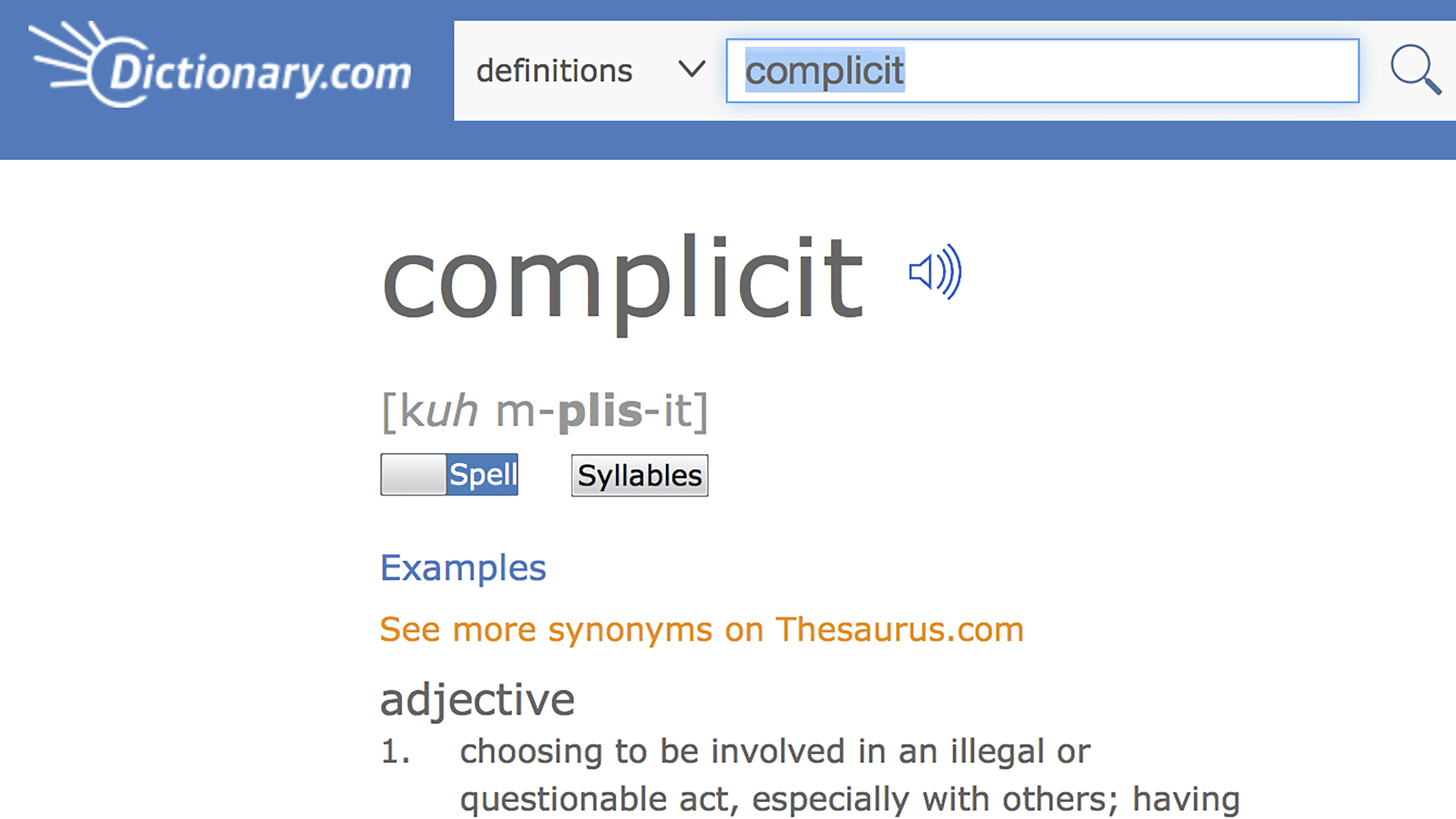 'Complicit' named word of the year by Dictionary.com